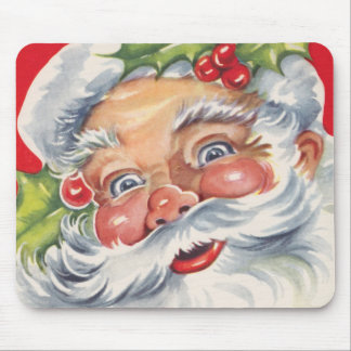 Vintage Christmas, Jolly Santa Claus with His Hat Mouse Pad