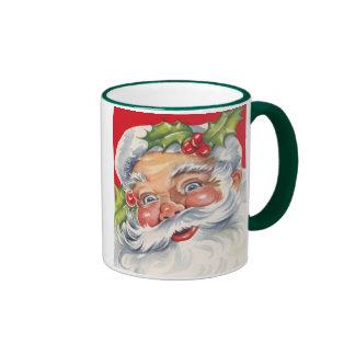 Vintage Christmas, Jolly Santa Claus with His Hat Ringer Mug