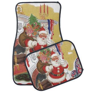 Vintage Christmas, Jolly Santa Claus with Presents Car Mat