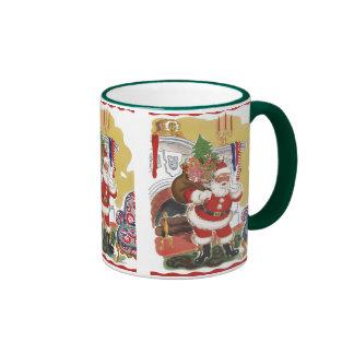 Vintage Christmas, Jolly Santa Claus with Presents Ringer Mug