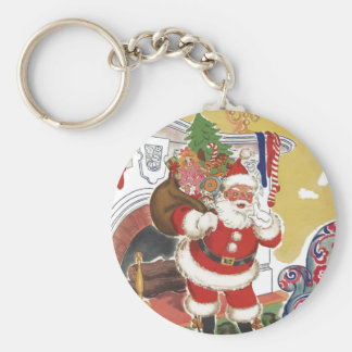 Vintage Christmas, Jolly Santa Claus with Toys Keychains