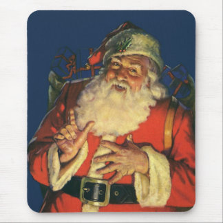 Vintage Christmas, Jolly Santa Claus with Toys Mouse Pad