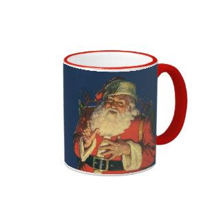 Vintage Christmas, Jolly Santa Claus with Toys Ringer Mug
