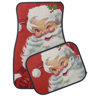 Vintage Christmas, Jolly Winking Santa Claus Car Mat
