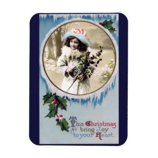 Vintage Christmas Joy Photo Magnet