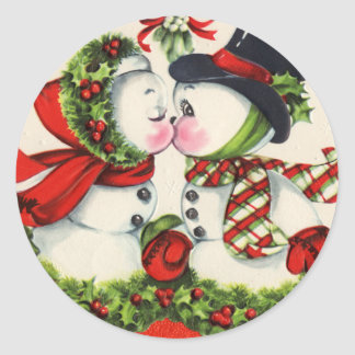 Vintage Christmas Kiss Round Sticker