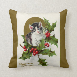 Vintage Christmas Kitten Gold Throw Pillows
