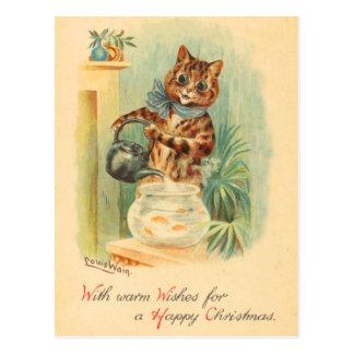 Vintage Christmas Kitten Postcard