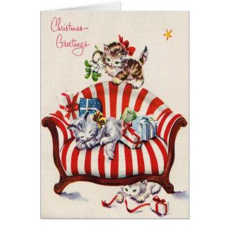 Vintage Christmas Kittens Card