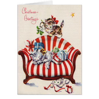Vintage Christmas Kittens Greeting Cards