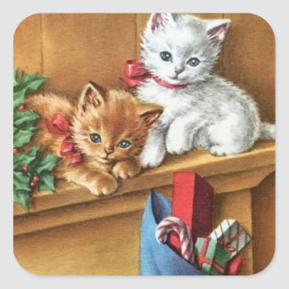 Vintage Christmas Kitties On Mantle Square Sticker