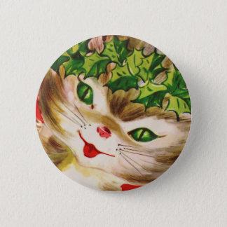 vintage Christmas kitty 6 Cm Round Badge