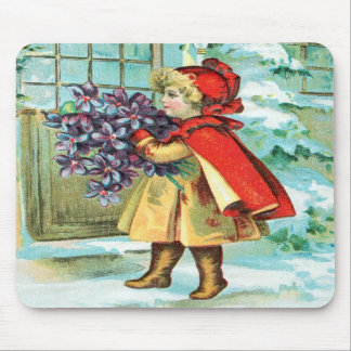 Vintage Christmas Little Girl & Violets Mousepad