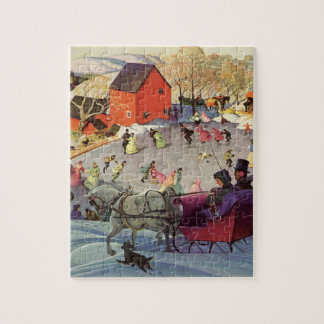 Vintage Christmas, Love and Romance Sleigh Jigsaw Puzzle