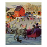 Vintage Christmas, Love and Romance Sleigh Poster