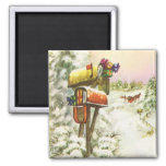 Vintage Christmas, Mailboxes in Winter Landscape Refrigerator Magnet