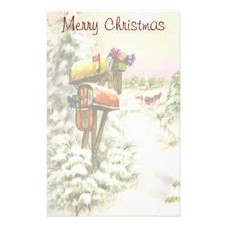 Vintage Christmas, Mailboxes in Winter Landscape Stationery