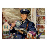 Vintage Christmas, Mailman Delivering Mail Letters Greeting Card