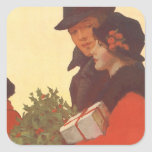 Vintage Christmas, Man and Woman Shopping Sticker