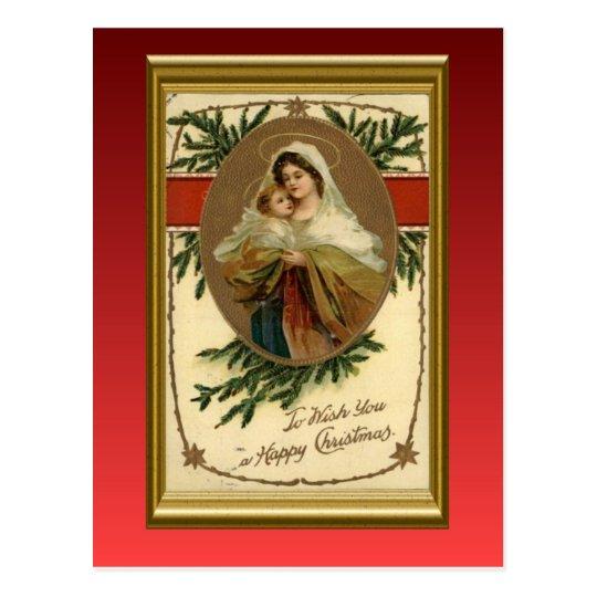 Vintage Christmas, Mary and baby Jesus Postcard