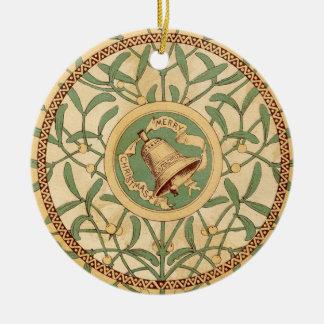 Vintage Christmas Mistletoe Round Ceramic Decoration