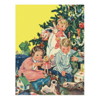 Vintage Christmas Morning, Children Opening Gifts Postcard