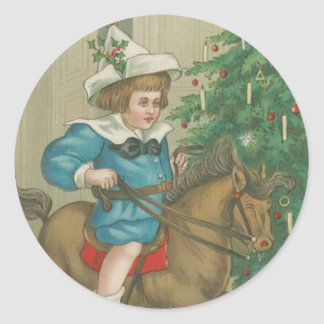 Vintage Christmas Morning Classic Round Sticker