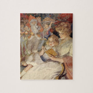 Vintage Christmas, Mother Reading Bedtime Story Jigsaw Puzzle