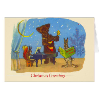 Vintage  Christmas, Music from the animals Card