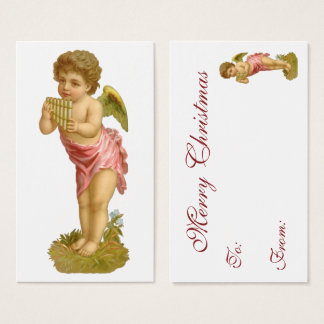 Vintage Christmas, Musician Angel with Pan Pipes Business Card