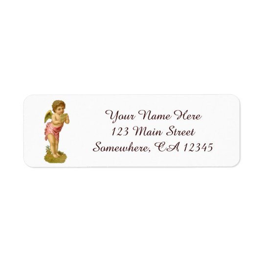 Vintage Christmas, Musician Angel with Pan Pipes Return Address Label