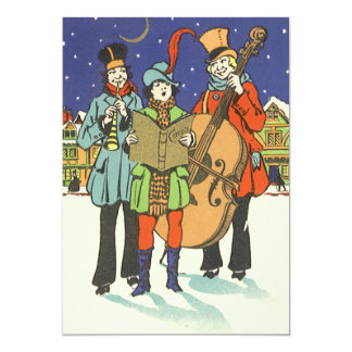 Vintage Christmas, Musicians Caroling with Music 5x7 Paper Invitation Card