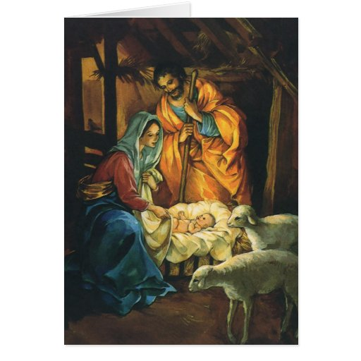 Vintage Christmas Nativity, Baby Jesus in Manger Greeting Cards