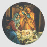 Vintage Christmas Nativity, Baby Jesus in Manger Sticker