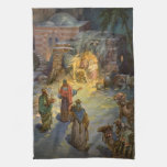 Vintage Christmas Nativity Hand Towels
