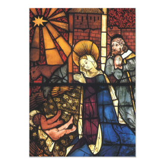 Vintage Christmas Nativity Scene in Stained Glass 13 Cm X 18 Cm Invitation Card