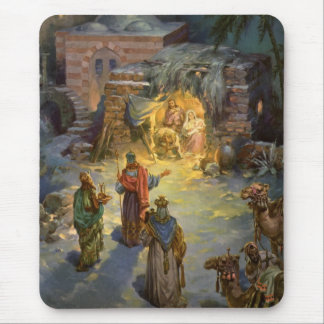 Vintage Christmas Nativity with Visiting Magi Mouse Pad