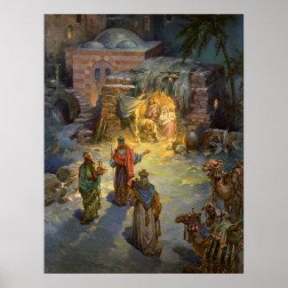 Vintage Christmas Nativity with Visiting Magi Poster