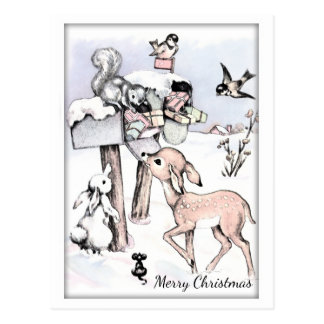 Vintage Christmas of Animals with Gifts Postcard