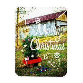 Vintage Christmas Old Barn Tree Magnet