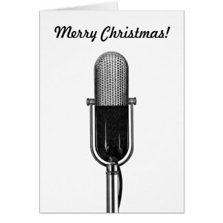Vintage Christmas, Old Fashoined Retro Microphone Card