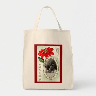 Vintage Christmas Organic Grocery Tote Bags