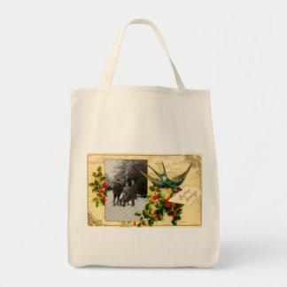 Vintage Christmas Organic Grocery Tote Canvas Bag