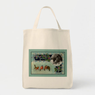 Vintage Christmas Organic Grocery Tote Canvas Bags