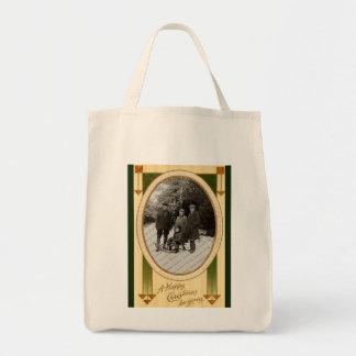 Vintage Christmas Organic Grocery Tote Tote Bag