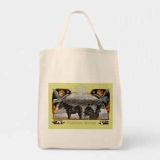 Vintage Christmas Organic Grocery Tote Grocery Tote Bag