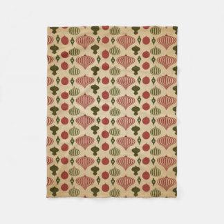 Vintage Christmas Ornament Pattern Fleece Blanket