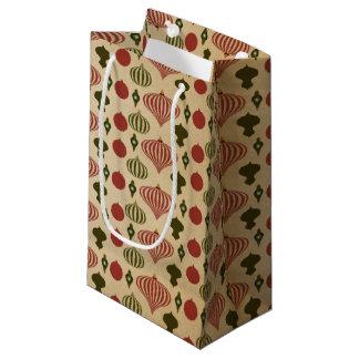 Vintage Christmas Ornament Pattern Small Gift Bag