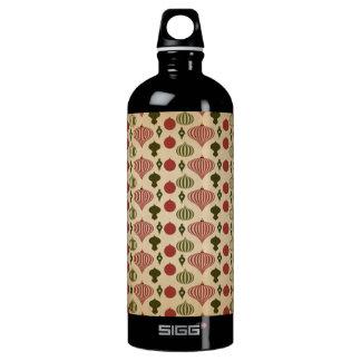 Vintage Christmas Ornament Pattern Water Bottle