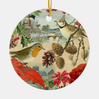 Vintage christmas ornament w/ birds and red flower
